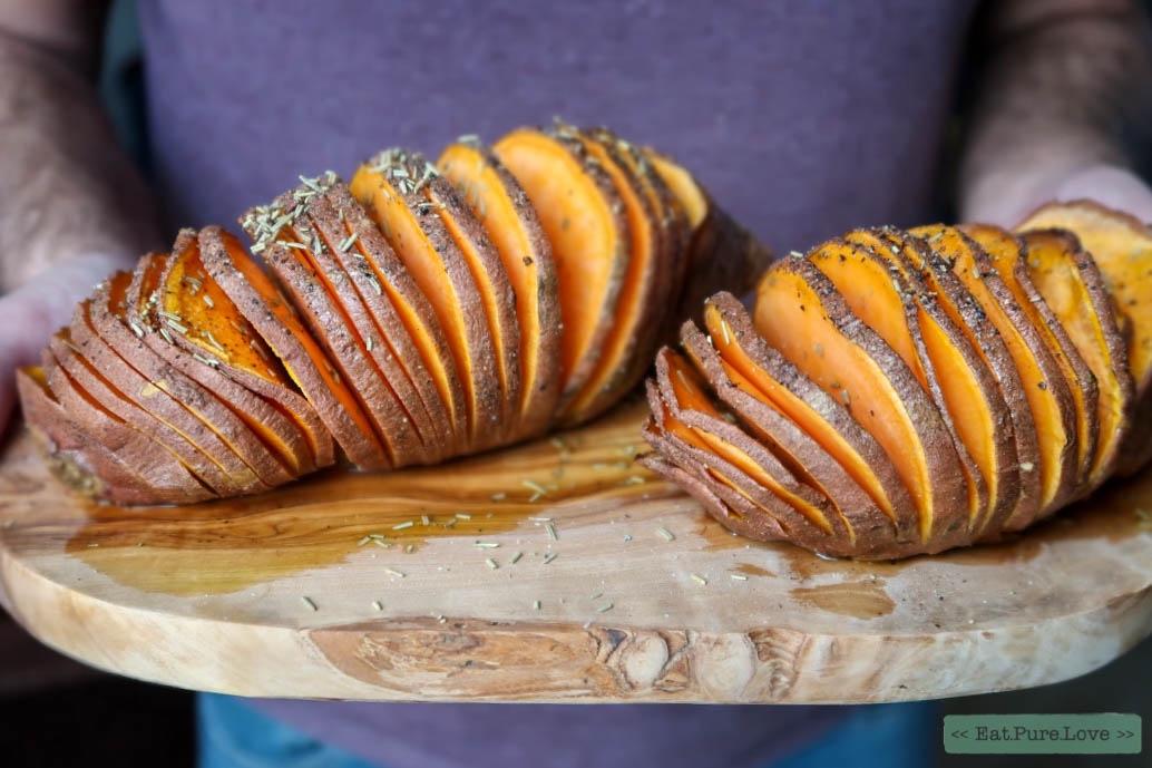 Hasselback van zoete aardappel
