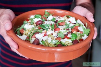 Glutenvrije pastasalade met groene pesto