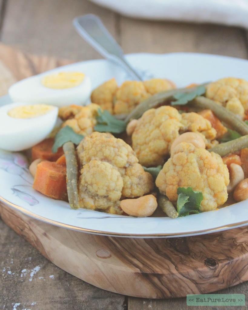 Indiase bloemkoolcurry met zoete aardappel