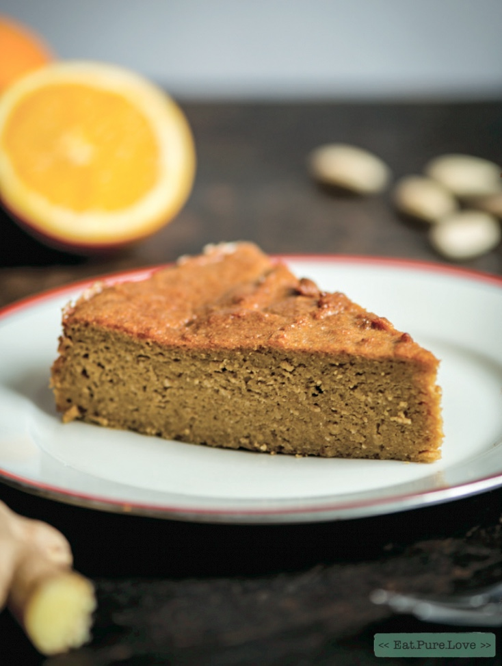 Smeuïge sinaasappel-gember taart met abrikozen