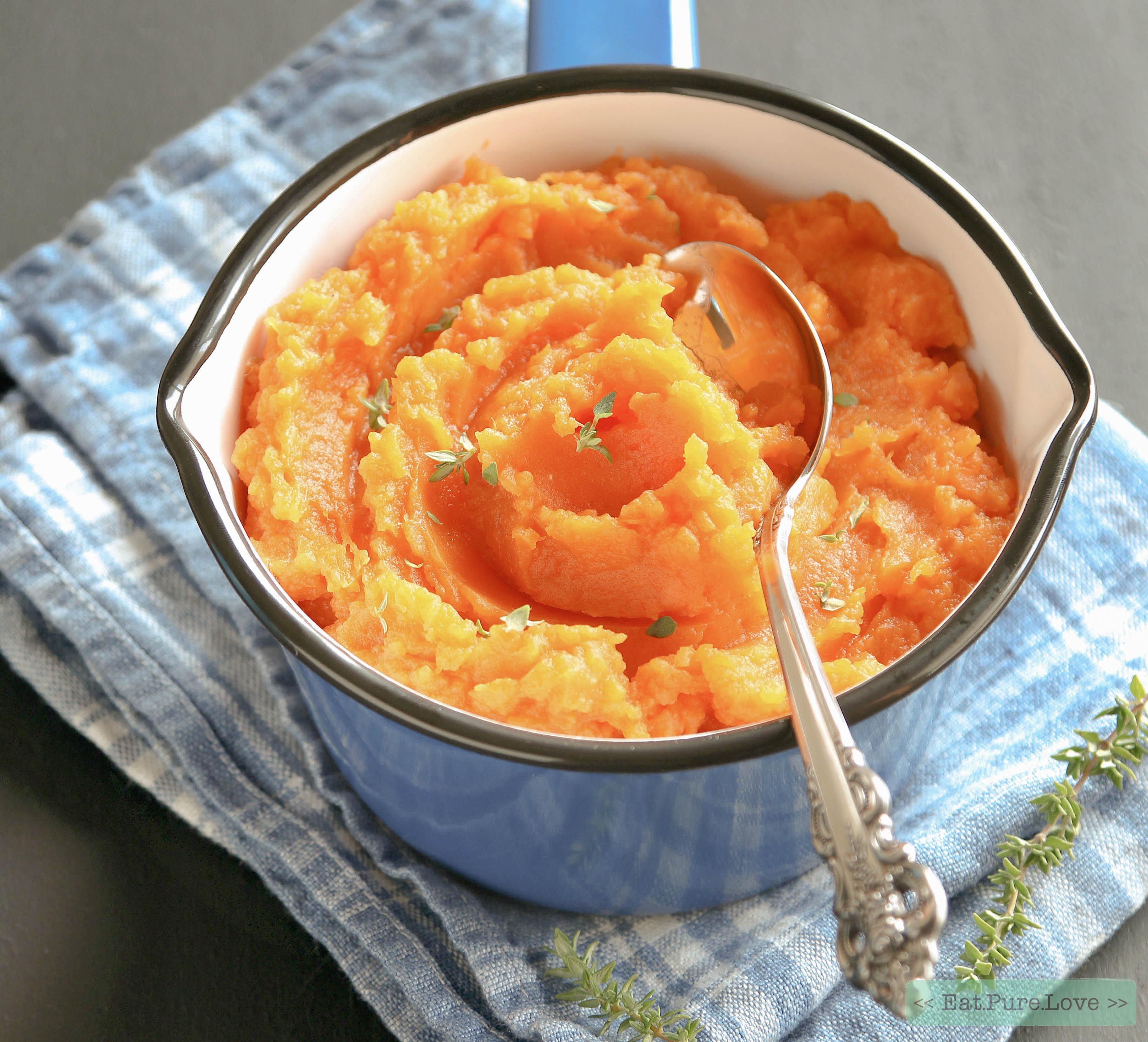 Zoete aardappel puree met tijm