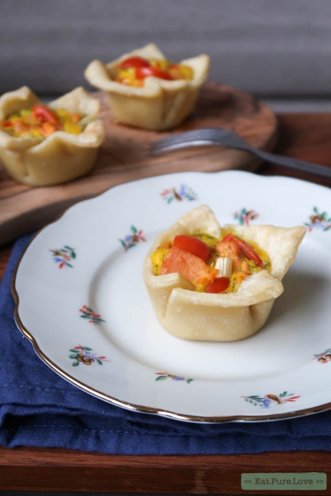 Glutenvrije bladerdeeg muffins met zalm