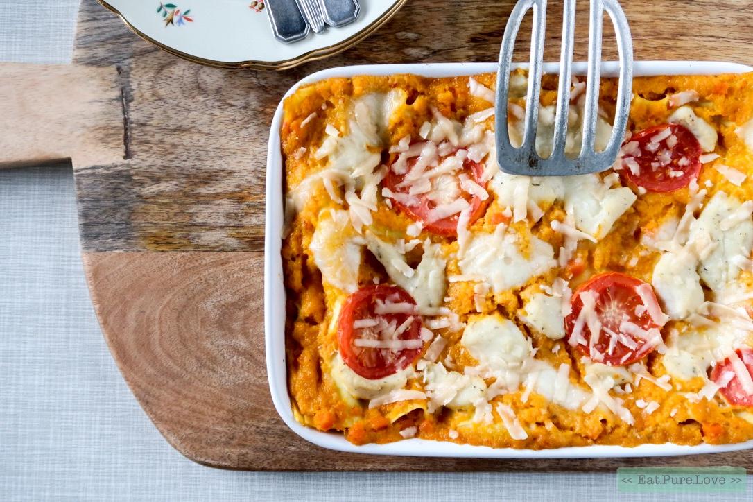 Glutenvrije lasagne met pompoen-chili pastasaus