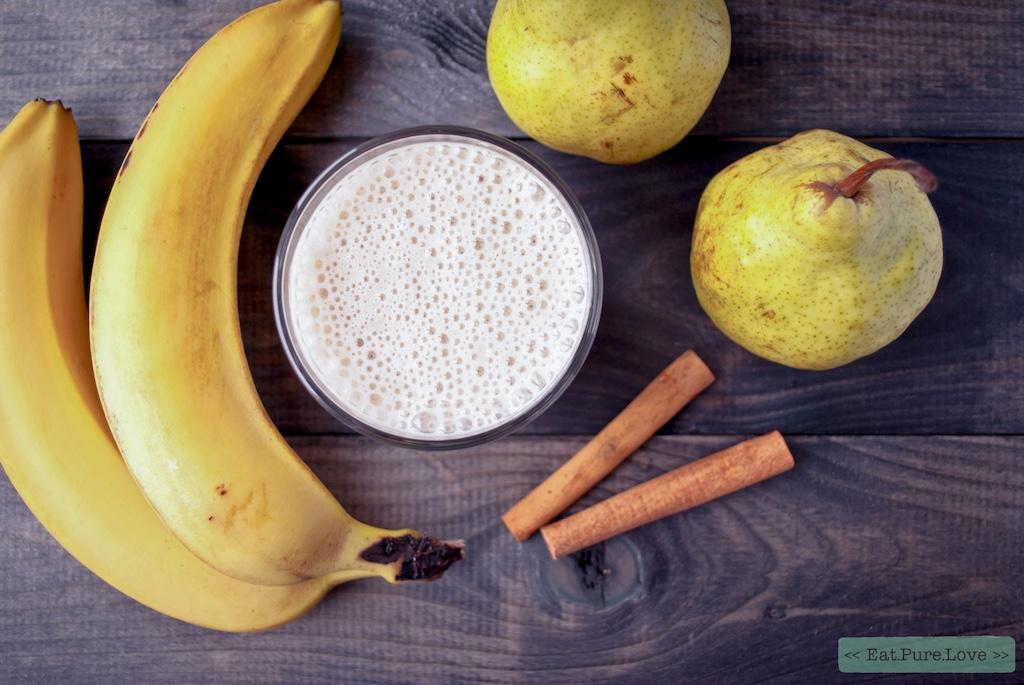 Romige vegan peren smoothie met kaneel