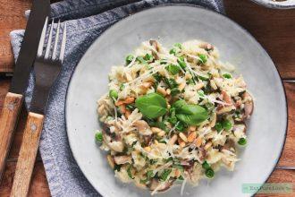 vegetarische bloemkool risotto met champignons