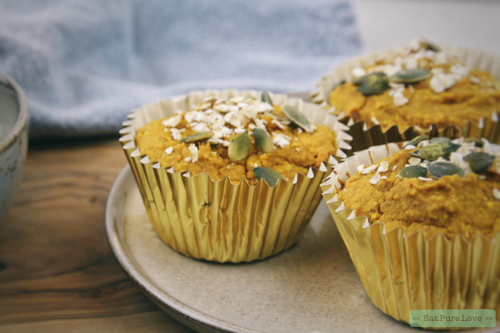 Glutenvrije en vegan havermout pompoenmuffins