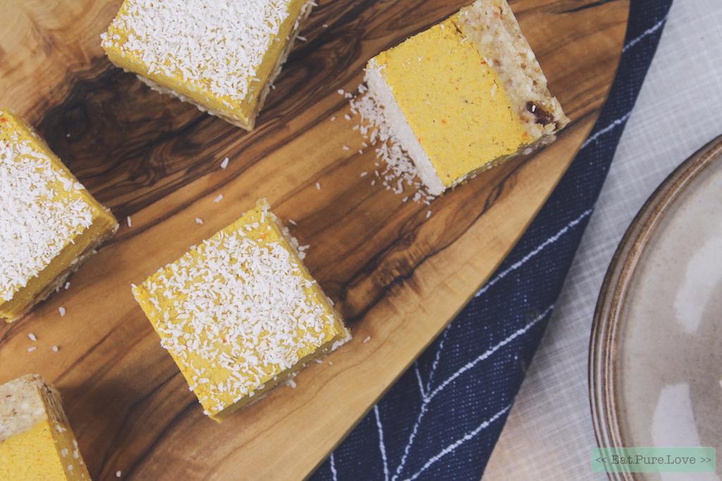 Raw en vegan pompoen cheesecake bites met kokos