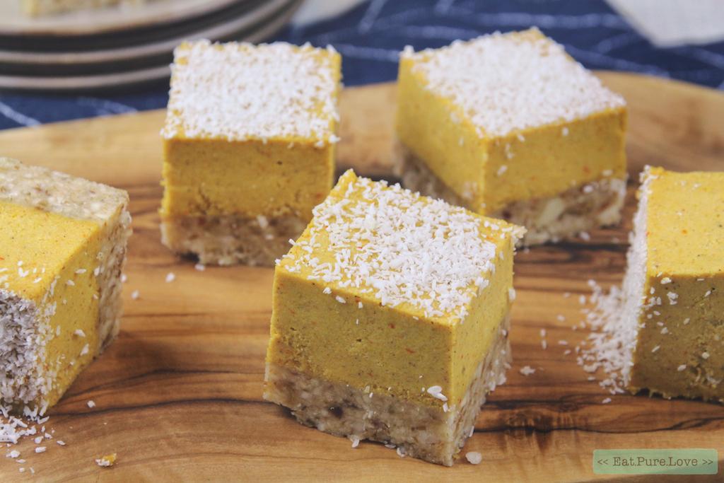 Vegan pompoen cheesecake bites met kokos