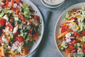 Vegan kapsalon met zoete aardappelfriet