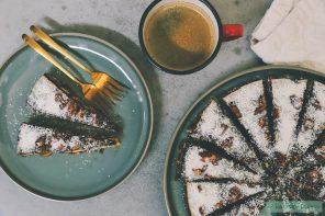 Dadeltaart met koffieganache en gekarameliseerde pecannoten