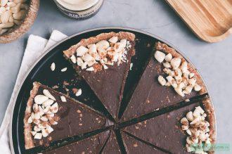 Vegan chocolade fudge taart met tahin